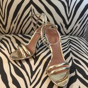 Zara Metallic Gold Strappy Sandals